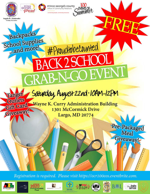 100 Events Summer Back To School Drive August 22