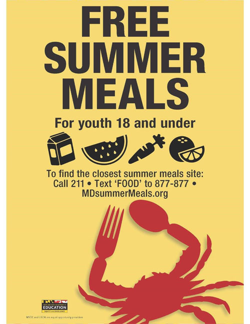 Maryland Free Summer Meals For Youth 18 and under