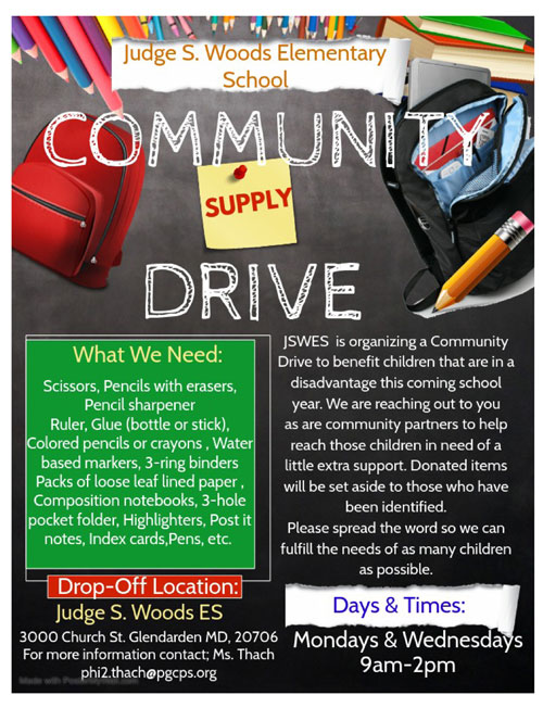 Judge S Woods Elementary School Community Supply Drive